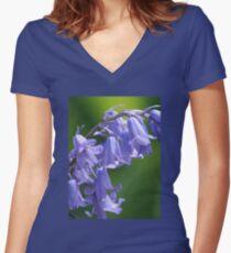 Violet-Blue English Bluebells Women's Fitted V-Neck T-Shirt