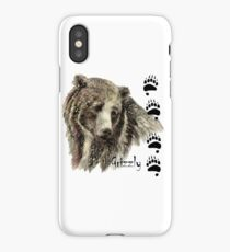 Watercolor Grizzly Bear Tracks Animal art iPhone Case/Skin