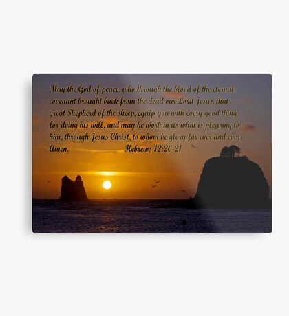 peaceful sunset w/hebrews 13:20-21 Metal Print