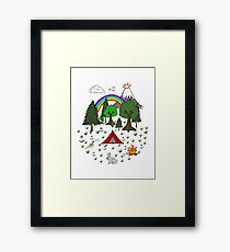 Cartoon Camping Scene Framed Print