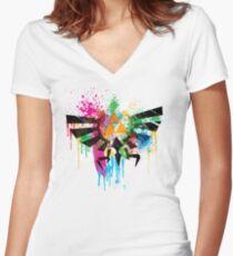 Hylian Paint Splatter Women's Fitted V-Neck T-Shirt