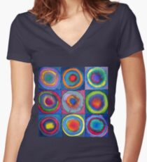 Circles - abstract watercolour Women's Fitted V-Neck T-Shirt