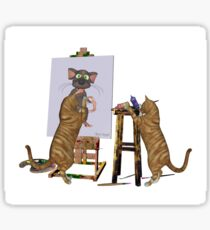 Artists at Work .. March Cats Sticker