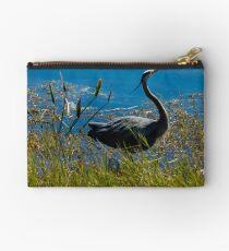 Posing Great Blue Heron Zipper Pouch
