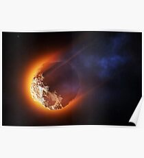 Burning asteroid entering the atmoshere Poster