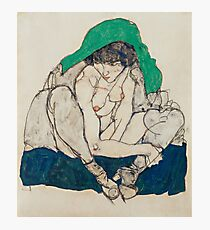Egon Schiele - Crouching Woman with Green Headscarf 1914  Fashion Sexy  Woman Photographic Print