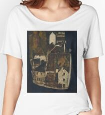 Egon Schiele - Dead City III, City on the Blue River III 1911  Egon Schiele   Landscape Women's Relaxed Fit T-Shirt