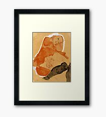 Egon Schiele - Girl in Red Robe and Black Stockings 1911  Egon Schiele  Woman Portrait Framed Print