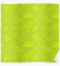 Fast Food Doodle Seamless Pattern Poster