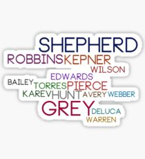 Grey's Names Sticker