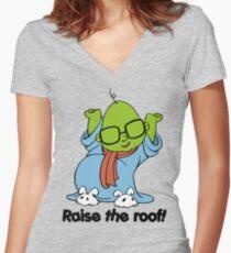 Muppet Babies - Bunsen - Raise The Roof - Black Font Women's Fitted V-Neck T-Shirt