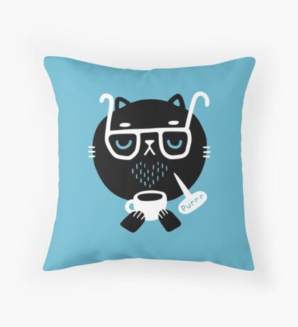 Cat Loves Coffee Throw Pillow