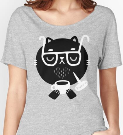 Cat Loves Coffee Relaxed Fit T-Shirt