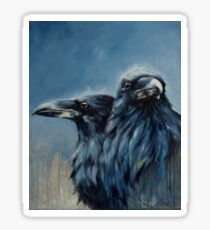 A Portrait of Huginn and Muninn Sticker