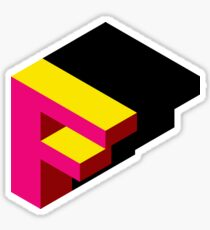 Letter F Isometric Graphic Sticker