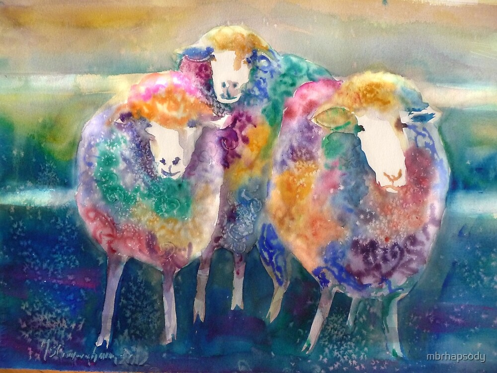 Three's a Crowd Sheep Watercolor by Marybeth Cunningham