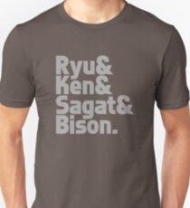 Ryu & Ken & Sagat & Bison funny nerd geek geeky T-Shirt
