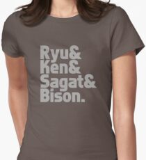 Ryu & Ken & Sagat & Bison funny nerd geek geeky Women's Fitted T-Shirt