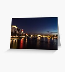 British Symbols and Landmarks - Silky River Thames at Night, Complete with the Royal Family Greeting Card
