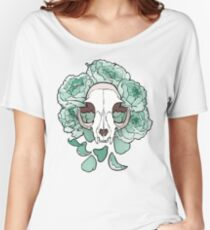 Cat and Peonies- Mint Women's Relaxed Fit T-Shirt