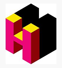 Letter H Isometric Graphic Photographic Print