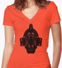 Star Trek Stencil - USS Defiant Women's Fitted V-Neck T-Shirt