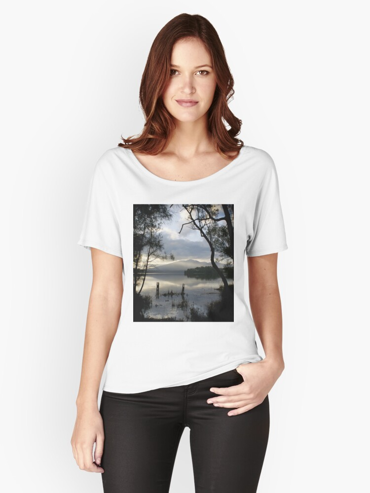 Wallaga Lake, Late Afternoon Misty Gulaga Mountain Women's Relaxed Fit T-Shirt Front