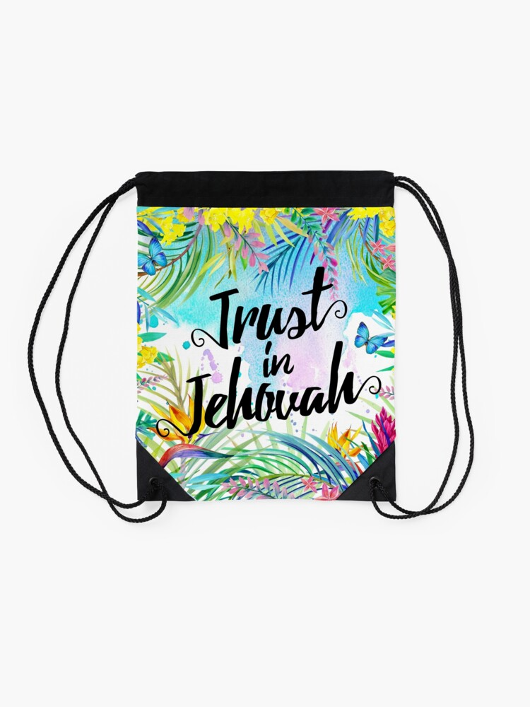Alternate view of Trust in Jehovah (Watercolor Butterflies and Flowers) Drawstring Bag
