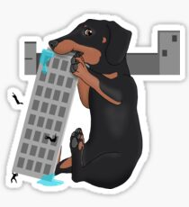 Attack of the Enormous Dachshund!!! Sticker