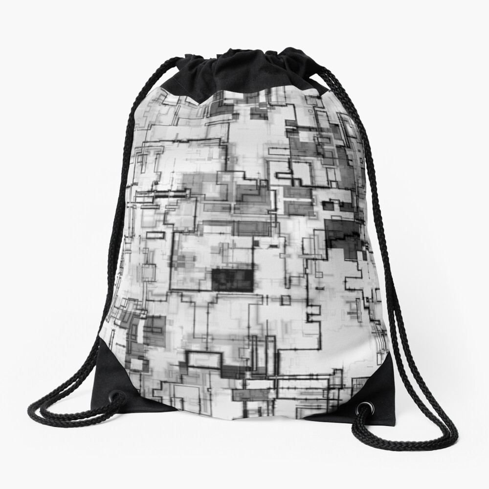 Digital Urban Circuit Design Drawstring Bag Front
