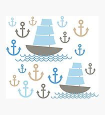 Sailboat on blue background Photographic Print