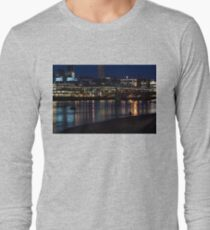 Strolling Down the Thames Riverbank Hand in Hand - Magical Night in London Long Sleeve T-Shirt