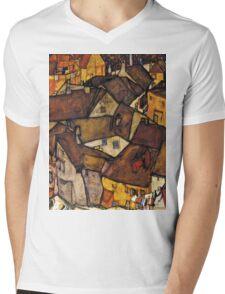 Egon Schiele - Krumau - Crescent of Houses The Small City V Krumau Hauserbogen die Kleine Stadt V 1915 Mens V-Neck T-Shirt