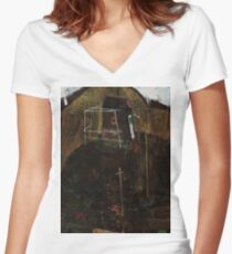 Egon Schiele - Landscape with Ravens 1911 Women's Fitted V-Neck T-Shirt