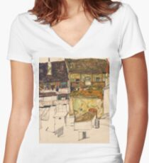 Egon Schiele - Old Houses in Krumau, 1914 Landscape Women's Fitted V-Neck T-Shirt