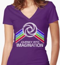 Journey Into Imagination Distressed Logo in Vintage Retro Style Women's Fitted V-Neck T-Shirt