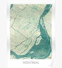 Montreal Map Blue Vintage Poster