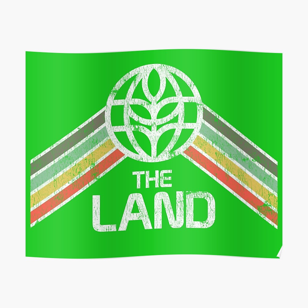 Das Land Logo Distressed im Vintage-Retro-Stil Poster