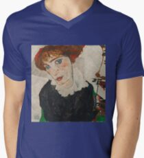 Egon Schiele - Portrait of Wally Neuzil 1912 Woman Portrait Mens V-Neck T-Shirt