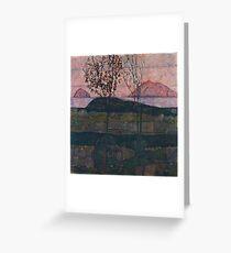 Egon Schiele - Setting Sun 1913  Expressionism Landscape Greeting Card