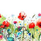 Colorful Watercolors Spring Flowers Illustration by artonwear