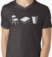 Folding chairs, books and coffee Men's V-Neck T-Shirt