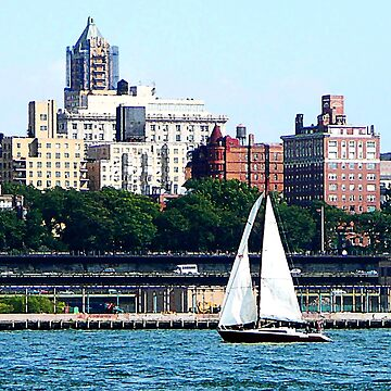 New York - Sailboat Against Manhattan Skyline by SudaP0408
