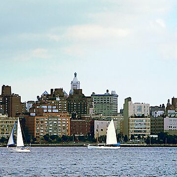 New York - Two Sailboats Against Manhattan Skyline by SudaP0408