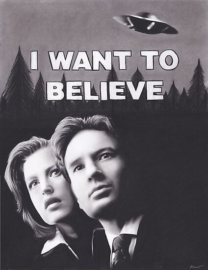 Original Charcoal Drawing of X Files I Want to Believe by brittnideweese