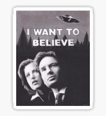 Original Charcoal Drawing of X Files I Want to Believe Sticker