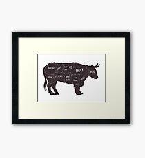 Primitive Butcher Shop Beef Cuts Chart 2 Framed Print