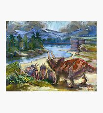Herd of triceratopses is walking to a river Photographic Print