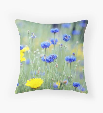 Cornflowers and Daisies Throw Pillow