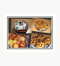 Seasonal Fayre Collage - Food for Christmas Art Print